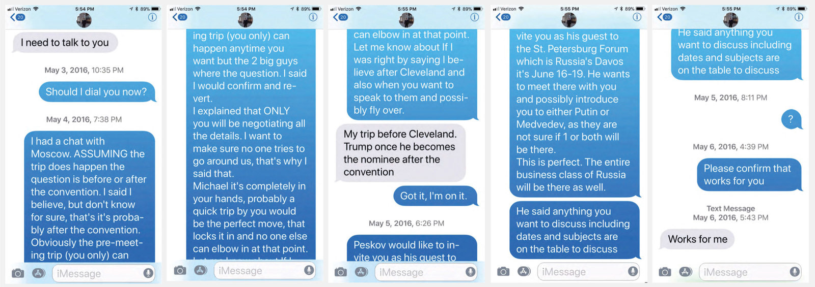 Texts between Michael Cohen and Felix Sater.