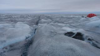 The ice after rain in the Kangerlussuaq region, Greenland