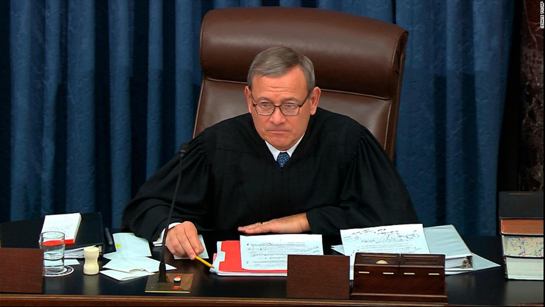 Supreme Court Chief Justice John Roberts speaks last month during the Senate impeachment trial against President Trump.